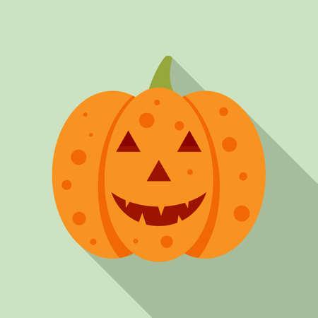 Evil pumpkin icon, flat style