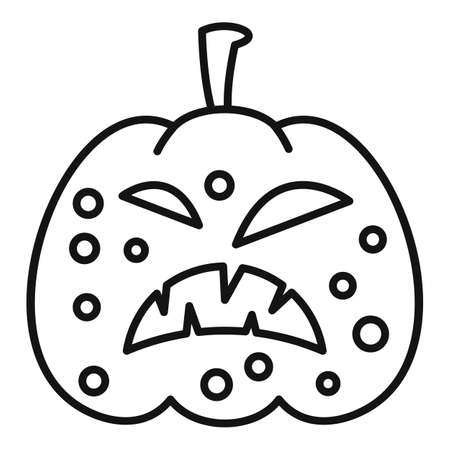 Carving pumpkin icon, outline style 免版税图像
