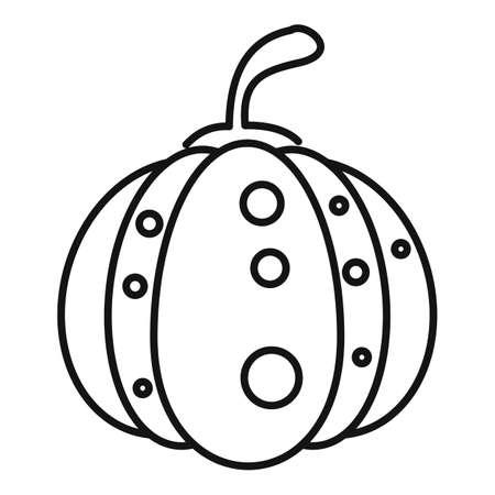 Halloween pumpkin icon, outline style 免版税图像