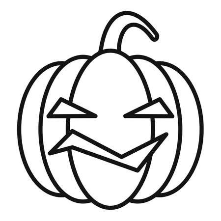 Lantern pumpkin icon, outline style