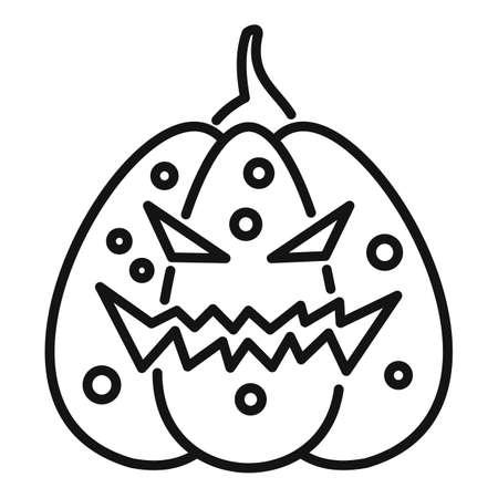 Evil pumpkin icon, outline style 免版税图像