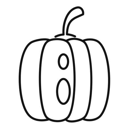 Fear pumpkin icon, outline style