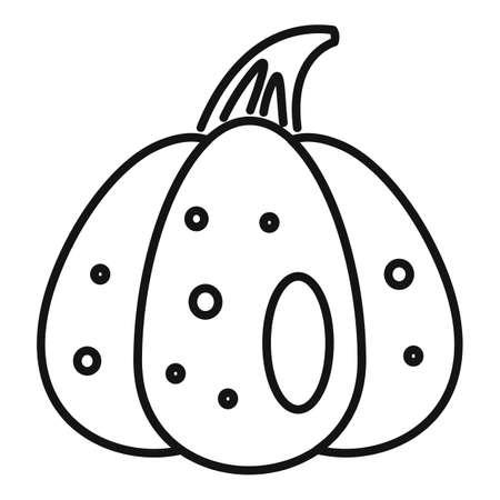 Art pumpkin icon, outline style