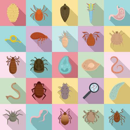 Parasite icons set, flat style