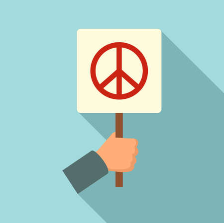 Peace symbol protest icon, flat style