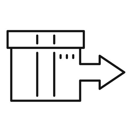 Shipping box relocation icon, outline style Imagens