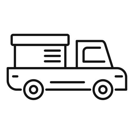 Tow truck delivery icon, outline style Stock Photo