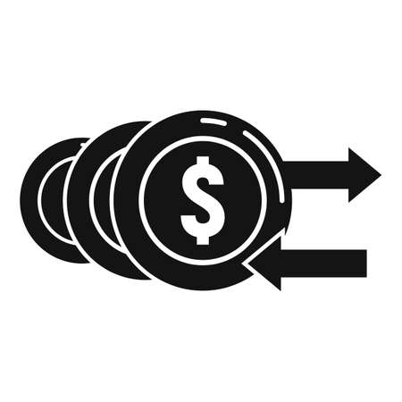 Discount money coins icon, simple style