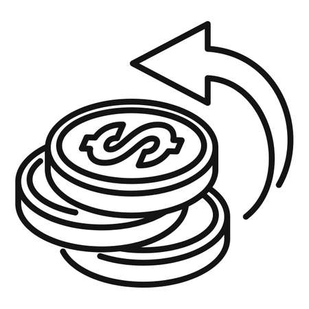 Coin cash back icon, outline style