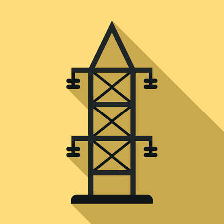 Electric tower icon, flat style