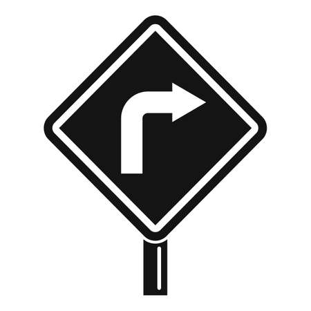 Road direction indicator icon, simple style
