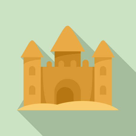 Castle made of sand icon, flat style