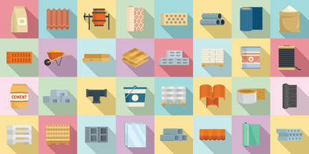 Construction materials icons set, flat style