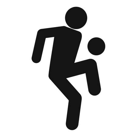 Soccer player playing icon, simple style