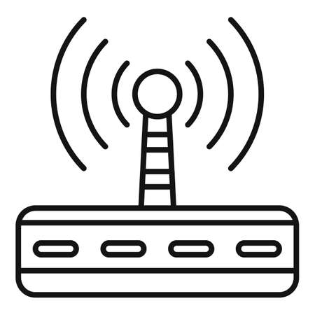 Wifi router radiation icon, outline style