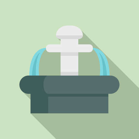 Central park drinking fountain icon, flat style