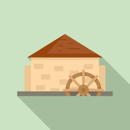 Antique water mill icon, flat style