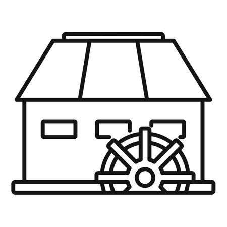 Antique water mill icon, outline style