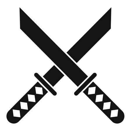 Crossed sword icon, simple style