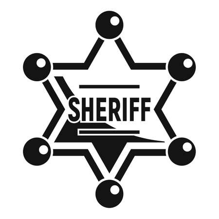 Sheriff gold star icon, simple style