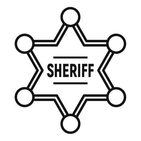 Sheriff gold star icon, outline style