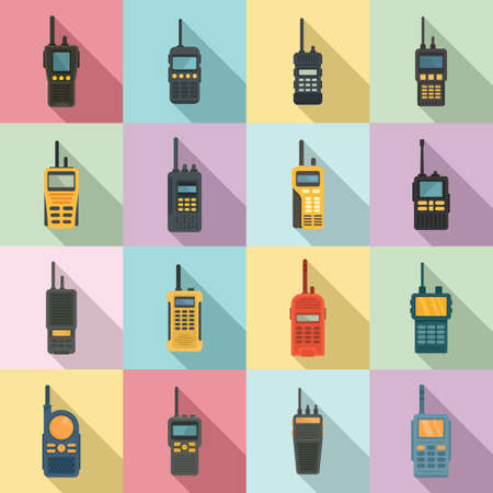 Walkie talkie icons set, flat style 版權商用圖片