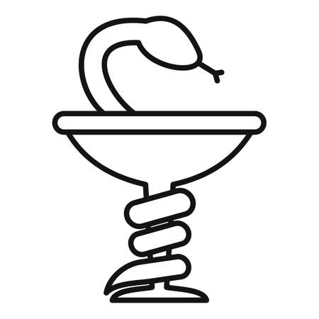 Medical snake cup icon, outline style