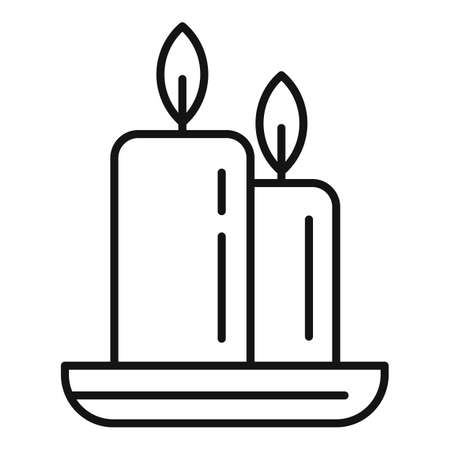 Spa burning candle icon, outline style 版權商用圖片