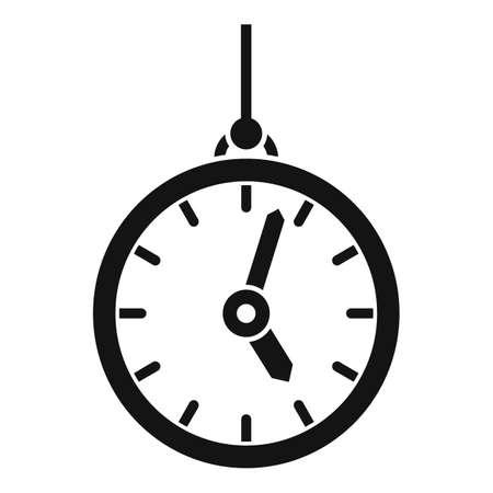 Hypnosis pendulum clock icon, simple style