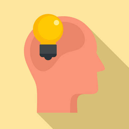 Bulb idea neuromarketing icon, flat style