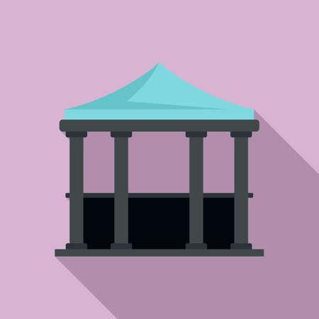House gazebo icon, flat style