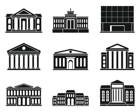City theater museum icons set, simple style