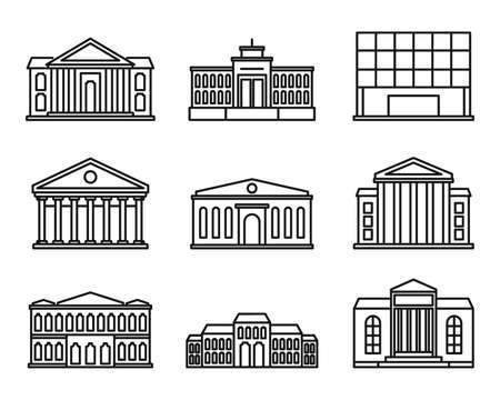 Entertainment theater museum icons set, outline style