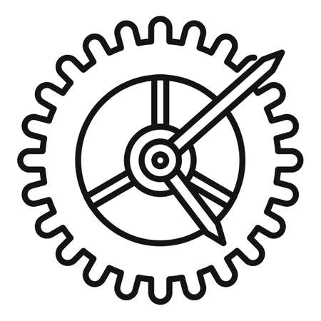 Watch gear wheel icon. Outline watch gear wheel icon for web design isolated on white background Stockfoto