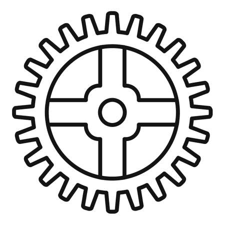 Watch cog wheel piece icon, outline style Stockfoto