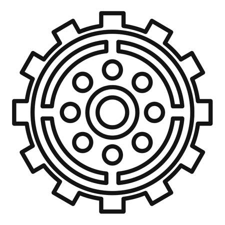 Broken watch cog wheel icon, outline style