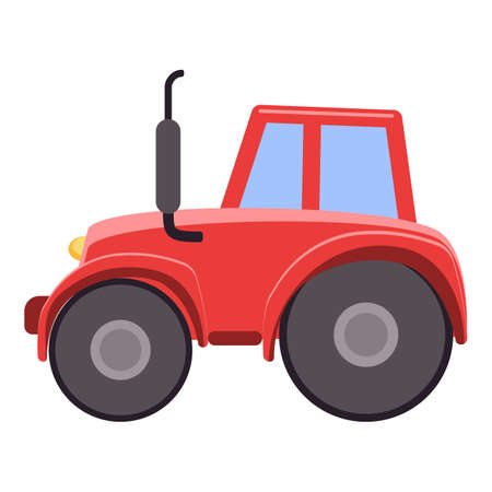 Farm tractor icon, cartoon style