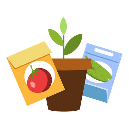 Plant seed pot icon, cartoon style