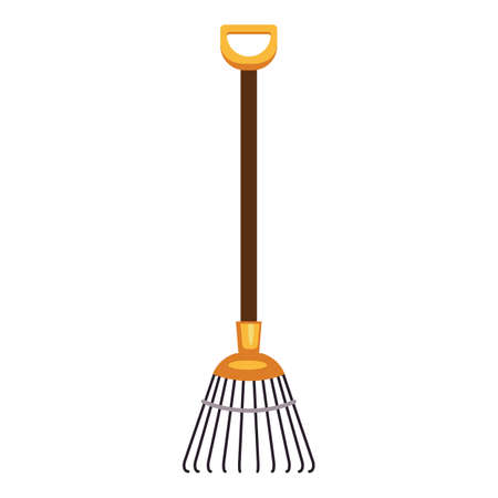 Leaf rake icon, cartoon style