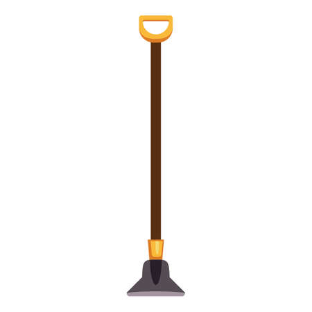 Garden hoe icon, cartoon style