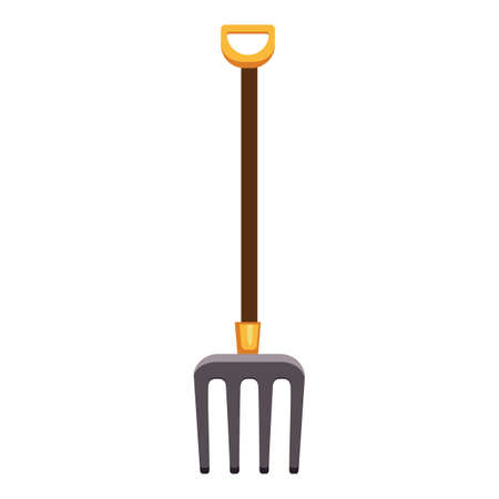 Farming fork icon, cartoon style