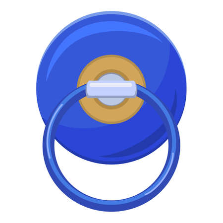 Blue pacifier icon, cartoon style