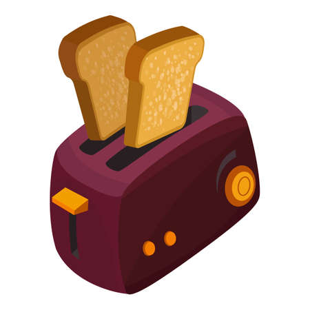 Bread toaster icon, cartoon style