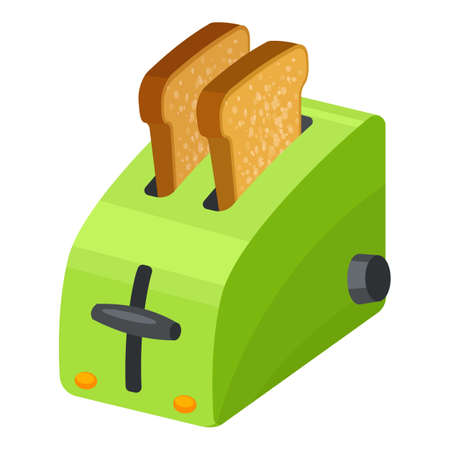Green toaster icon, cartoon style Stockfoto