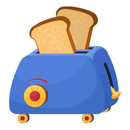 Breakfast toaster icon, cartoon style