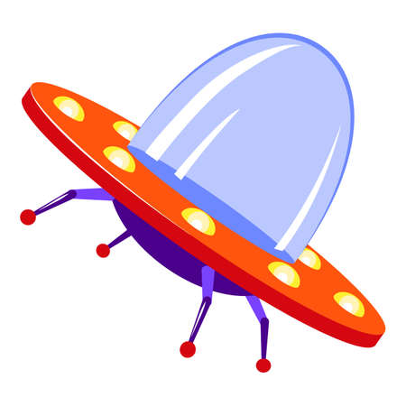 Invasion ufo icon, cartoon style