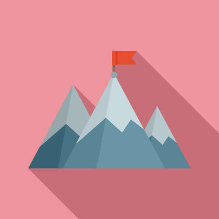 Mountain flag mission icon, flat style Stockfoto