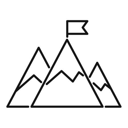 Mountain flag mission icon, outline style