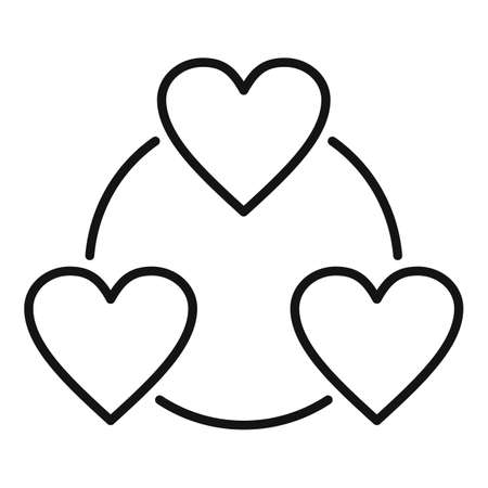Love heart affection icon, outline style