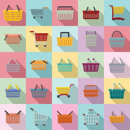 Cart supermarket icons set, flat style